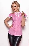 Женская рубашка розового цвета с коротким рукавом, украшена кружевом. Модель 347.