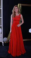 Вечернее платье (Веч-МП-17-03) для выпускного вечера, свидетельницы и пр. мероприятий (цвет - красный, 42-44)