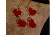 """Браслет нежный с подвеской сердечко """"коралл"""" в золотистой оправе - подарок девушке, жене, подруге или сестре"""