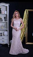 Вечернее платье (Веч-МП-17-04) для выпускного вечера, свидетельницы и пр. мероприятий (цвет - капучино, 42-44)