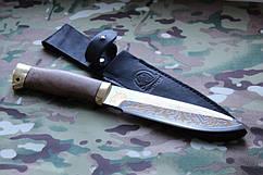 Нож с фиксированным клинком Фокс-2 ,рукоять  латунь ,орех