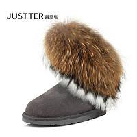 JUSTTER кожа снега сапоги угги с  кролик мех кисточки Лисий мех , фото 1