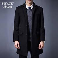 Зима длинное толстое шерстяное пальто мужское воротник среднего возраста бизнес