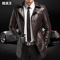 Пальто мужские осень зима Slim-типа кожа мужчины длинные участки плюс бархат a7f7429e5bb1a