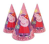 """Колпачки, колпаки праздничные """"Свинка Пеппа"""" розовые, 10 шт/уп."""