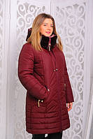 Женская куртка (зима ) Мутон  р. 50-56 бордо