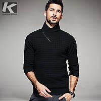 тонкий пуловер водолазка мужская сплошной цвет свитер , фото 1