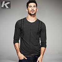 мужская кофта шеи длинными рукавами футболки мужчин Slim Fit случайные футболки Мужская одежда топ, фото 1