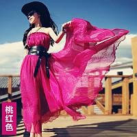 летнее платье новая модель женское розовый шифон юбка большие качели отдых длинное платье