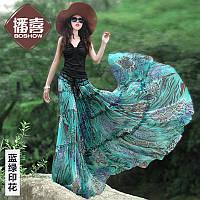 женская юбка синий зеленый шифон цветочный принт Макси платья удлиненная юбка, фото 1