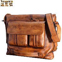 Vinny натуральная воловья кожа мужская сумка свободного покроя 3 цвета
