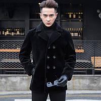 Мужская шуба удлиненная с овечьей шерсти пальто воротник двубортный
