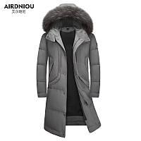Удлиненный мужской пуховик пальто теплое зимние мужской пуховик