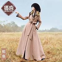 Мультикаст Привет предпродажная 2016 зима одежда Новый женщины Slim-подходят тонкий двубортный меховой воротник шерстяное длинное пальто