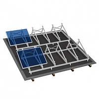 Комплект кріплень з алюмінієвого профілю для плоского даху з кріпленням до нього на 4 модуля