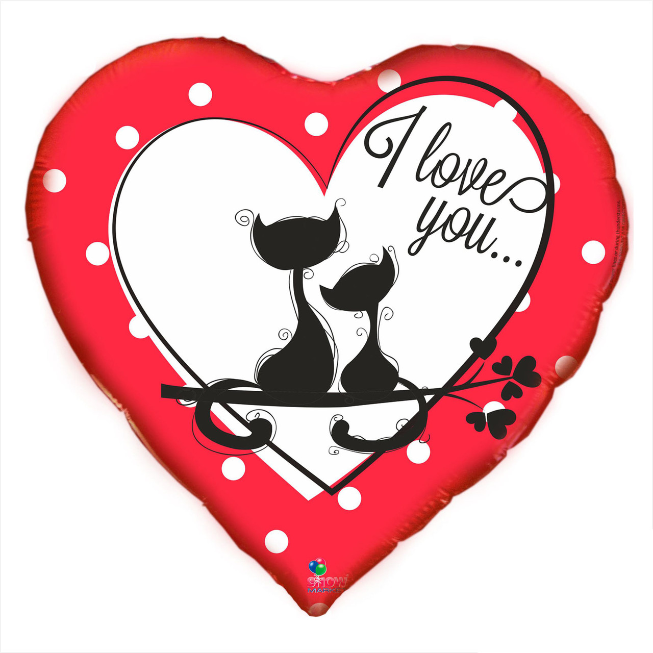 """Фольгированный шарс надписью """" I love you"""" и котиками"""