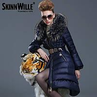 Сковилл 2016 новое Прибытие вниз пальто женские удлиненные разделе Европейский и американский высокого класса люкс бренд утолщенной большой меховой