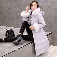 2016 роскошный Лисий мех вниз пальто женщин длинный участок плюс толстый над корейской версии колена тонкий большой меховой воротник и длинные участки
