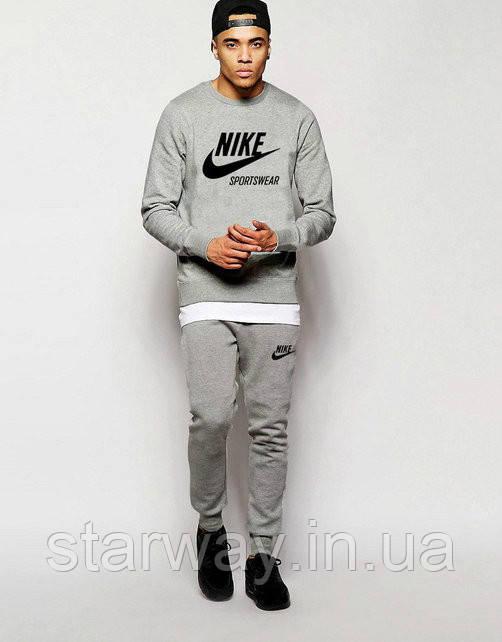 Мужской серый спортивный костюм Nike sportswear | logo