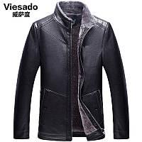 Плюс бархат утолщение Вэй Са зима мужской плюс хлопок стоять воротник кожаная одежда верхняя одежда среднего возраста мода PU кожаная куртка пальто