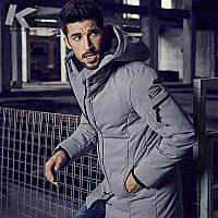 Приталенный Fit зима kuegou мужская куртка мужская ватник длинный участок пальто мужские хлопка-проложенный одежды хлопка-ватник прилив 21606