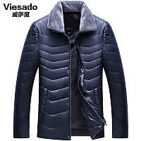 Виагра Са степень мужская зимняя одежда тонкий параграф ПУ кожаная куртка пальто среднего возраста лацкан стильный кожаный пиджак отца приталенный