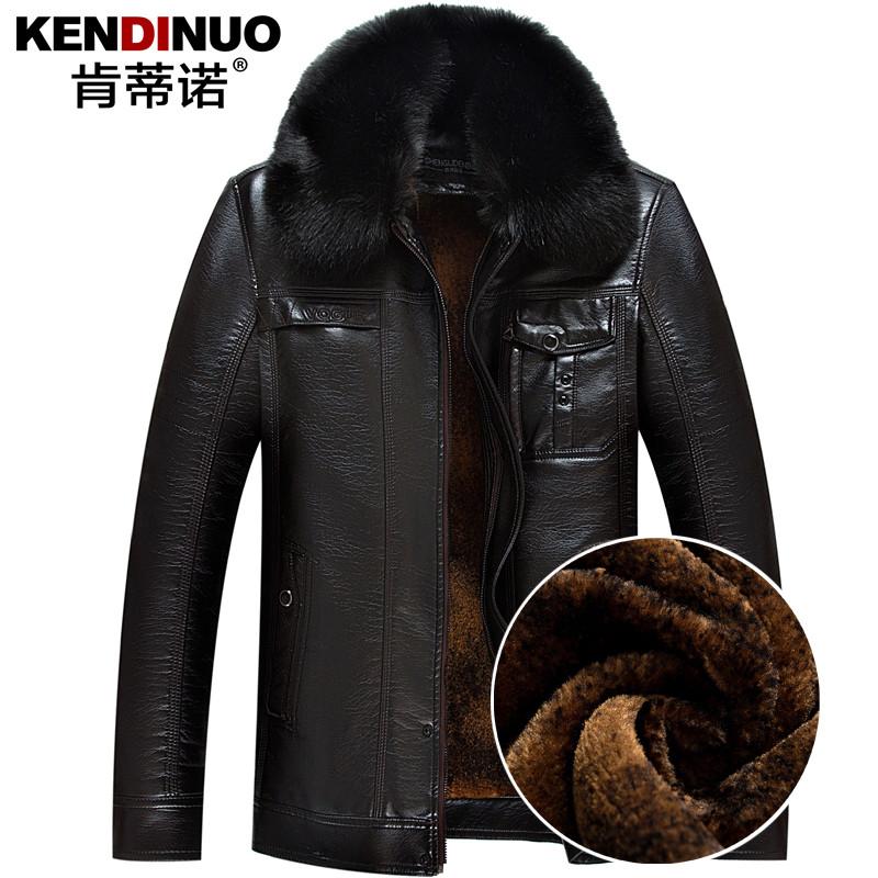 1a7ca86fef6 Новый среднего возраста кожа мужской плюс бархат утолщенные отец загружен кожаные  куртки мужские зимние пальто меховой