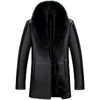 Хайнинг меха мужские меха длинный участок подлинной кожаный овец Phi одежда Лиса меховой воротник мужской кожаное пальто кожаная куртка, фото 1