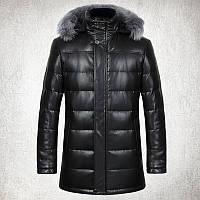 2016 зимние кожаные пуховик мужской длинный участок меховой воротник Лиса кожаная куртка кожаная куртка плюс толстый тонкий Fit куртка пальто