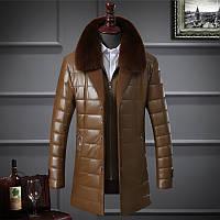 Каждый день специальные среднего возраста мужской кожаный пальто куртка и длинные участки мех воротник кожа PU вниз хлопка-ватник утолщенной куртка