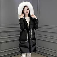 2017 мода корейский новая зимняя одежда capensis большой меховой воротник вниз куртка женщин длинные участки утолщенной свободный пуховик