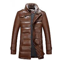 Натуральная кожаная одежда стоять зимой жюстина новые мужские воротник пуховик и длинные участки меха норки воротник плюс толстые теплые пальто