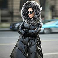 Хайнинг кожа новый кожаный пуховик женщин длинный участок с капюшоном большой код мех лисы овечья кожа плащ куртка, фото 1