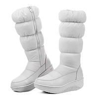 Снег сапоги большой размер женщин белый плюс бархат сапоги женские сапоги толстые супер теплый хлопок сапоги Север толстым дном 4243