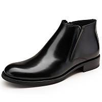 Ботинки осень и зима новый британский стиль кожа бизнес платье кожаные сапоги молния наконечник мужской кожаные сапоги короткие сапоги теплые сапоги