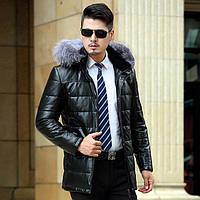 Зима Хайнинг кожа вниз длинные участки куртка мужская тонкий толстые пальто среднего возраста большой размер Лисий мех с капюшоном кожаная куртка, фото 1