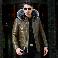 Зима Хейнинг кожаная куртка мужчины среднего возраста меховой воротник Лиса и длинные участки кожаная куртка с капюшоном Slim Fit сгущает пальто, фото 1