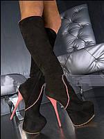 Правителей силла темно-коричневый овчины заклинание цвет 16 см на высоких каблуках сапоги женские сапоги женские сапоги