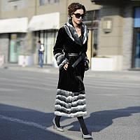 2017 новый ультра-длинный участок черный искусственной шиншилла шиншилла шерсть вертикальный большой меховой воротник шерсти пальто женщин большой, фото 1