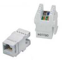 Модуль узкий UTP HD RJ-45  180, кат.5E белый KJ-NARUTP5E-2M