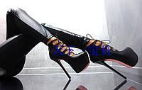 Правителей силла обувь черный кожа один обувь женские ультра высокий каблук туфли подиум сценические туфли 16 см