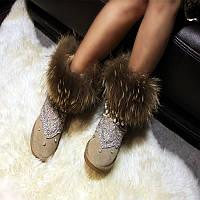 Сапоги зимние новые ручной работы демона кицунэ кожа женщины кисточкой обувь горный хрусталь воловья кожа мех снегоступы мех женщин