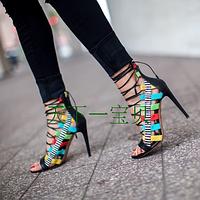 Силла правителей женская обувь ультра высоких каблуках заклинание цвет сандалии туфли на стадии подиум туфли 10 см каблук, фото 1