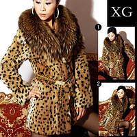 Японский синхронизированы классический большой гези меховой воротник импортированы мех кролика Леопардовый мех пальто куртка женщин, фото 1