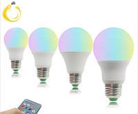 Светодиодная лампа RGB 9W  LED 220В E27 16 цветов с дистанционным пультом