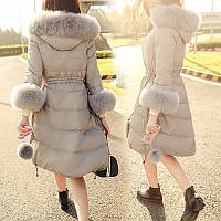 Европа станция прилива 2016 зимняя одежда корейской версии плюс толстый куртка Лиса большой меховой воротник и длинные участки талии шнурок вниз