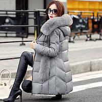 2016 зимняя одежда Хайнинг кожа кожа дамы длинный абзац тонкий с капюшоном меховой воротник Лиса кожаная куртка кожаная куртка