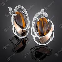 Серебряные серьги с тигровым глазом и фианитами. Артикул С-314