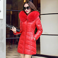 Зимняя одежда кожаная одежда из натуральной кожи вниз пальто женщина Хайнинг овец кожи Лисий мех большой ярдов длинный участок тонкий кожаная одежда