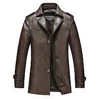 Бесплатная доставка осень и зима мужской новый кожаный плащ мода костюм воротник кожаная куртка тонкий Fit бизнес мужчины